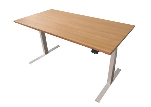 Edesk with elegant oak desktop and white frame