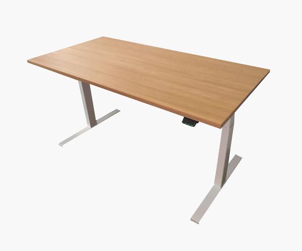 Edesk with elegant oak desktop and white frame